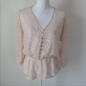 Forever 21 Dot Top Size S Blush Pink